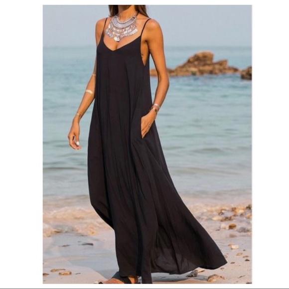 b6f3fc241c ✨RESTOCK✨Black loose fit pocket tank maxi dress